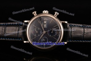 IWC TriIWC89105 Portofino Chrono Blue Dial Black Leather Steel Watch