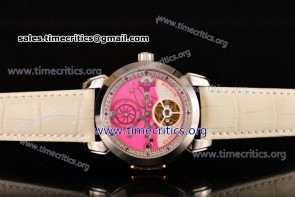Ulysse Nardin TriUN99070 Skeleton Tourbillon Manufacture Pink/White Dial White Leather Steel Watch
