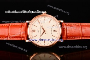 IWC TriIWC89137 Portofino Automatic White Dial Brown Leather Rose Gold Watch