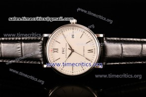 IWC TriIWC89138 Portofino Automatic White Dial Black Leather Steel Watch