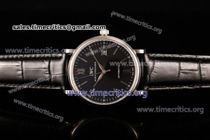 IWC TriIWC89139 Portofino Automatic Black Dial Black Leather Steel Watch