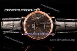 IWC TriIWC89140 Portofino Automatic Grey Dial Black Leather Rose Gold Watch