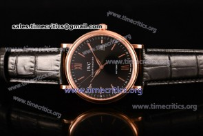 IWC TriIWC89141 Portofino Automatic Black Dial Black Leather Rose Gold Watch