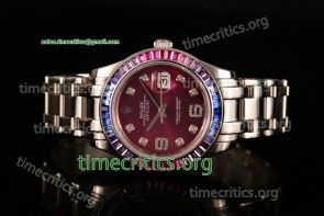 Rolex TriROX89319 Datejust Pearlmaster Purple Dial Diamonds Bezel Steel Watch (BP)