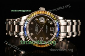 Rolex TriROX89320 Datejust Pearlmaster Army Green Dial Diamonds Bezel Steel Watch (BP)