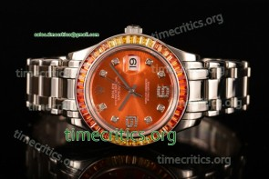 Rolex TriROX89321 Datejust Pearlmaster Orange Dial Diamonds Bezel Steel Watch (BP)