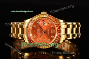 Rolex TriROX89322 Datejust Pearlmaster Orange Dial Diamonds Bezel Yellow Gold Watch (BP)