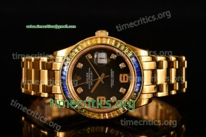 Rolex TriROX89323 Datejust Pearlmaster Black Dial Diamonds Bezel Yellow Gold Watch (BP)