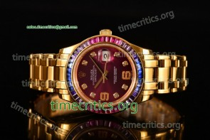 Rolex TriROX89324 Datejust Pearlmaster Purple Dial Diamonds Bezel Yellow Gold Watch (BP)