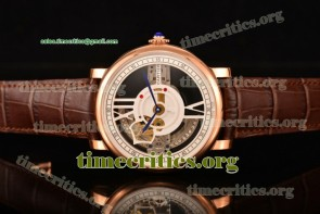 Cartier TriCAR89258 Rotonde De Cartier White/Skeleton Dial Brown Leather Rose Gold Watch