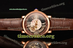 Cartier TriCAR89259 Rotonde De Cartier Brown/Skeleton Dial Brown Leather Rose Gold Watch