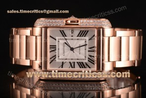Cartier TriCAR89337 Tank Anglaise Silver Dial Diamonds Bezel Full Rose Gold Watch