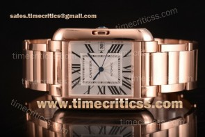 Cartier TriCAR89338 Tank Anglaise Silver Dial Full Rose Gold Watch