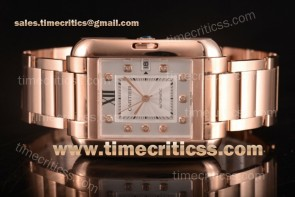 Cartier TriCAR89339 Tank Anglaise Silver Dial Diamonds Bezel Full Rose Gold Watch