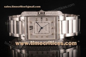 Cartier TriCAR89340 Tank Anglaise Silver Dial Diamonds Bezel Full Steel Watch