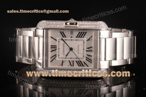 Cartier TriCAR89341 Tank Anglaise Silver Dial Diamonds Bezel Full Steel Watch