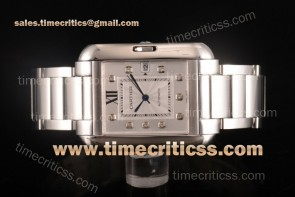 Cartier TriCAR89342 Tank Anglaise Silver Dial Diamonds Bezel Full Steel Watch
