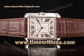 Cartier TriCAR89344 Tank Anglaise Silver Dial Brown Leather Steel Watch