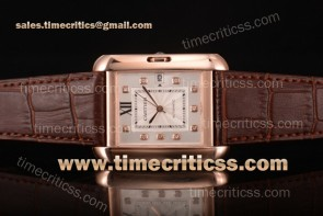 Cartier TriCAR89346 Tank Anglaise Silver Dial Diamonds Bezel Brown Leather Rose Gold Watch