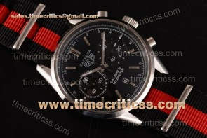 Tag Heuer TriTAG89130 Carrera Calibre 18 Chrono CAR221A.FC6354L Black Dial Black/Red Nylon Steel Watch