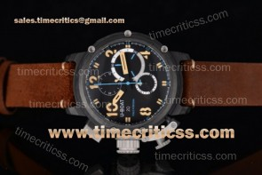 U-Boat TriUB99027 Chimera Chrono 7475 Black Dial Leather Strap PVD Watch
