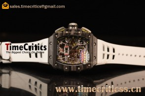 Richard Mille RM11-03 TriRM145512 Clone Richard Mille Movement Carbon Fiber Case White Rubber Strap (KV)