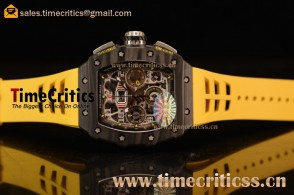 Richard Mille RM11-03 TriRM145555 Clone Richard Mille Movement Carbon Fiber Case Yellow Rubber Strap (KV)