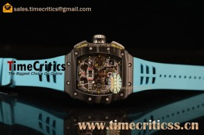 Richard Mille RM11-03 TriRM145583 Clone Richard Mille Movement Carbon Fiber Case Blue Rubber Strap (KV)