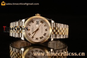 Rolex Datejust 36mm Swiss ETA 2836 Automatic Two Tone with White Dial and Roman Markers