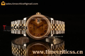 Rolex Datejust 36mm Swiss ETA 2836 Automatic Two Tone with Gold Dial and Roman Diamods Markers Diamonds Bezel
