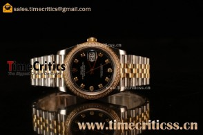Rolex Datejust 36mm Swiss ETA 2836 Automatic Two Tone with Black Dial and Diamods Markers Diamonds Bezel