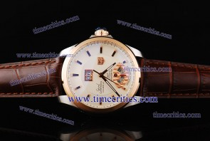 Tag Heuer TcrTHGC206 Grand Carrera Grand Date GMT ETA Coating White Dial Brown Leather Strap Steel Watch