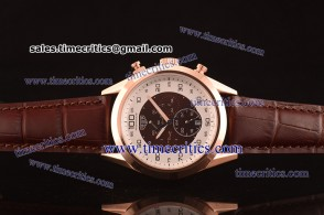 Tag Heuer TcrTHM382 Mikrotimer Black/White Dial Brown Leather Strap Rose Gold Watch
