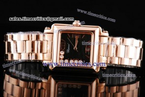 Chopard Trichp232 Happy Sport Classic Square 7 Floating Diamonds Rose Gold Watch Black Dial
