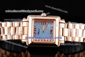 Chopard Trichp233 Happy Sport Classic Square 7 Floating Diamonds Rose Gold Watch Blue MOP Dial