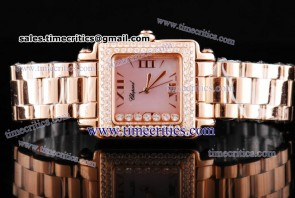 Chopard Trichp234 Happy Sport Classic Square 7 Floating Diamonds Rose Gold Diamond Watch Pink MOP Dial
