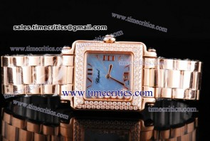Chopard Trichp235 Happy Sport Classic Square 7 Floating Diamonds Rose Gold Diamond Watch Blue MOP Dial