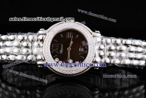 Chopard Trichp248 Happy Sport Classic Round 7 Floating Diamonds Steel Diamond Watch Brown Dial