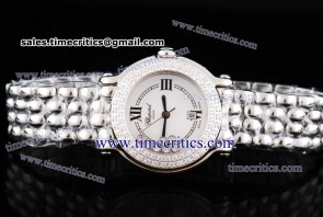 Chopard Trichp249 Happy Sport Classic Round 7 Floating Diamonds Steel Diamond Watch White Dial