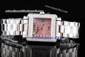 Chopard Trichp236 Happy Sport Classic Square 7 Floating Diamonds Diamond Watch Pink MOP Dial