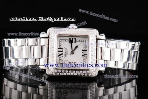 Chopard Trichp238 Happy Sport Classic Square 7 Floating Diamonds Diamond Watch White Dial