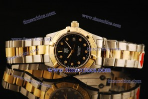 Tag Heuer TcrTHA419 Aquaracer Ladies Two Tone Black Diamond Markers Watch