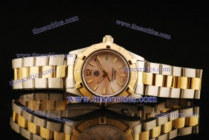 Tag Heuer TcrTHA420 Aquaracer Ladies Two Tone Pink Stick Markers Watch