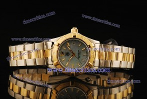 Tag Heuer TcrTHA423 Aquaracer Ladies Two Tone Blue MOP Stick Markers Watch