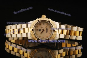 Tag Heuer TcrTHA427 Aquaracer Ladies Two Tone Pearl White Diamond Markers Watch