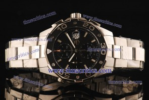 Tag Heuer TcrTHA048 Aquaracer Automatic 500M 5 Chrono 1:1 Original Black Dial Steel Watch