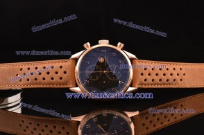 Tag Heuer TcrTCC306 Carrera Heritage Chrono Black Dial Brown leather Strap Rose Gold Watch