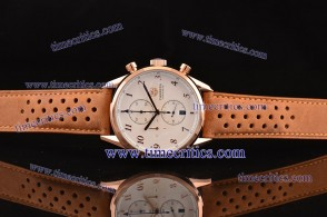 Tag Heuer TcrTCC307 Carrera Heritage Chrono White Dial Brown leather Strap Rose Gold Watch