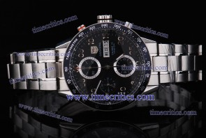 Tag Heuer TcrTCC296 Carrera Day Date Calibre 16 Black Dial Three Subdials Numerals Markers Steel Watch